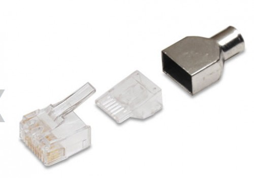 AMP Category 6 Modular Plug, RJ45, 24-23AWG, Solid (KIT, 8P, MOD PLUG, SOLID, CAT6).